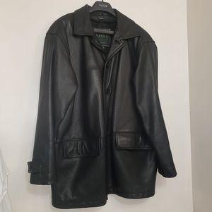 DANIER Black Leather Trench Long Soft Jacket Men's